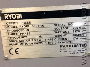 печатная машина Риоби 3304 HA (шильдик)